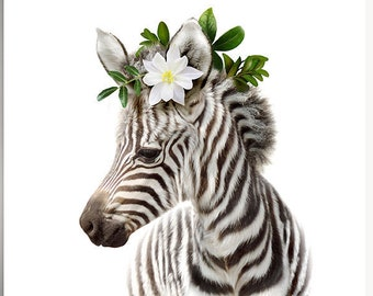 Nursery animal prints, INSTANT DOWNLOAD, Zebra print, The Crown Prints, Animals with floral crown, Flower crown animals, Safari animals, Kid