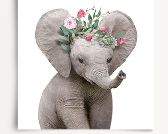 Girls nursery decor, INSTANT DOWNLOAD, Elephant print, The Crown Prints, Flower crown animals, Baby animals art, Nursery animal prints, Kids