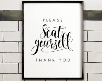 Please seat yourself, Bathroom wall decor, PRINTABLE wall art, Funny bathroom art, Restaurant decor, Bathroom sign, Bathroom print, Washroom