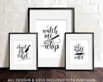 kitchen wall art printable art funny kitchen art kitchen printables chop it like its hot watch me whip just roll with it wall decor - Kitchen Wall Art
