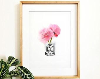 Flower illustration etsy peony print printable art instant downloadnature printwatercolor artpink flower printflower artdiptyqueflower illustrationfashion art mightylinksfo