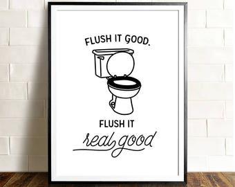 Flush Bathroom Humor Wall Art Christmas Gift Ideas 2018