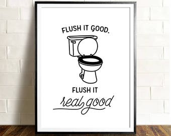 funny bathroom art printable art the crown prints flush it real good flush toilet sign funny bathroom signs kids bathroom decor - Funny Bathroom Art