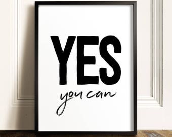 Yes You Can, PRINTABLE Quote, Inspirational Wall Art, Motivational Wall  Decor, Kids Room Decor, Gym Wall Art, Inspirational Quote, Text Art