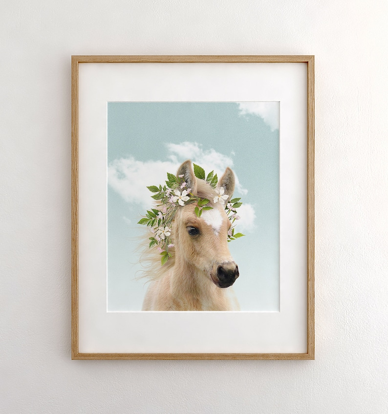 Baby horse with flower crown and blue sky PRINTABLE ART image 0