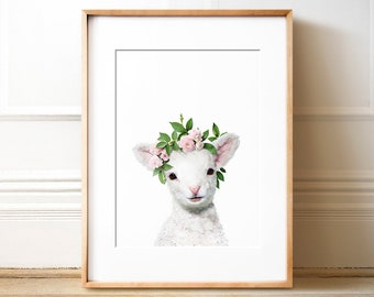 Girls nursery decor, Lamb print, PRINTABLE art, Flower crown, Girls room art, Animals with flowers, Baby animal prints, Nursery animal art,