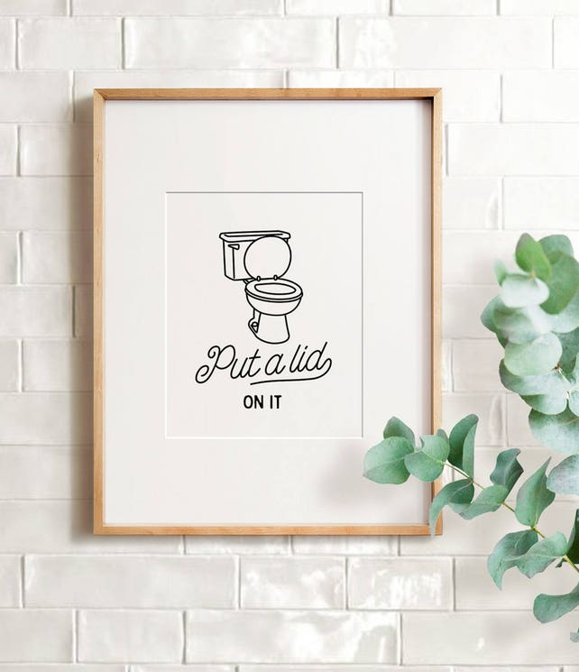Funny bathroom sign PRINTABLE art Bathroom wall art | Etsy