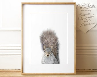 Squirrel print, Woodland animals nursery, PRINTABLE art, Baby room decor, Nursery wall art, Animal prints, Nursery prints, Baby animals art