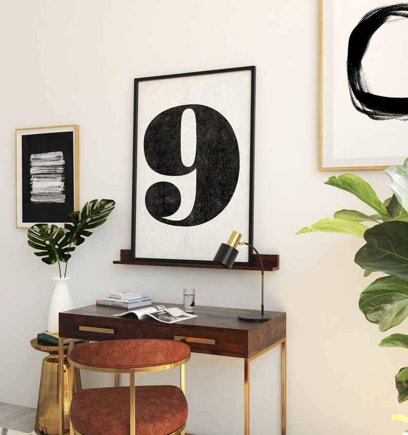 Number 9 sign Number prints PRINTABLE art Black and white image 0