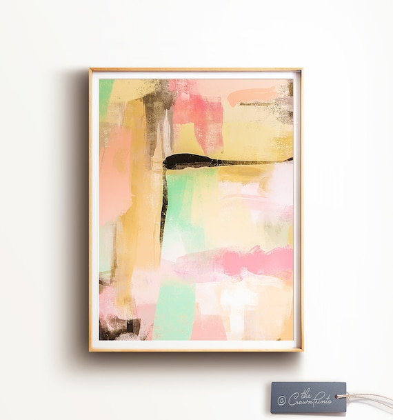 Abstract Painting Printable Art Modern Art Contemporary Art Pastel Wall Art Pink And Teal Large Abstract Art Digital Download Art