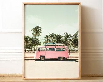 VW Bus art, PRINTABLE Art, Retro poster, Beach print, California wall art, Palm trees, Beach poster, Pastel print, Pink wall art, Boho decor
