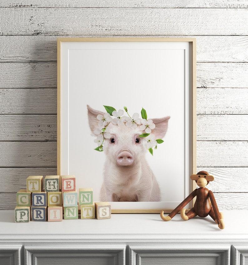 Boho nursery decor PRINTABLE ART Pig with flower crown image 0