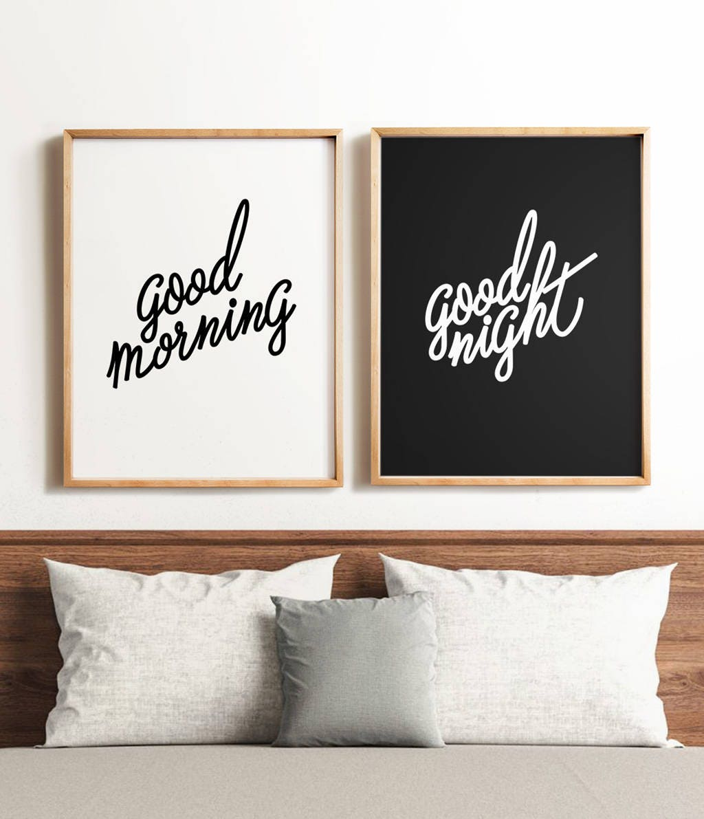 Bedroom Art Printables: Bedroom Art Set PRINTABLE Art Good Morning Good Night Black
