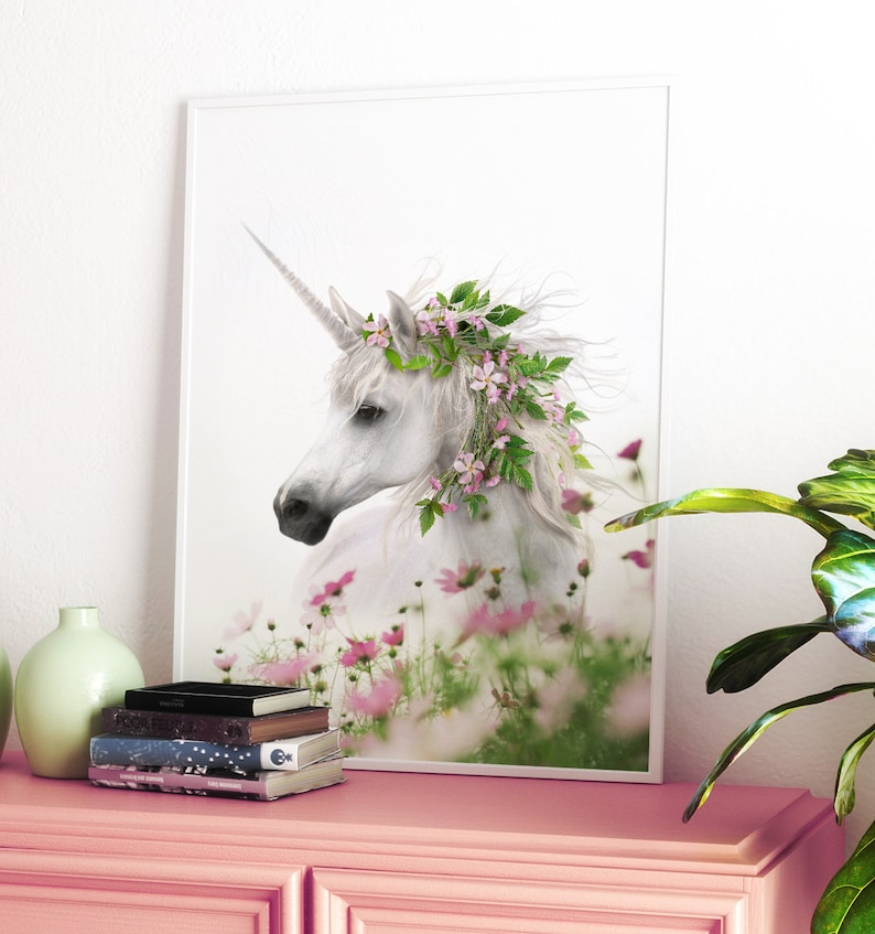 Unicorn decor PRINTABLE ART Girls room art Unicorn wall image 0