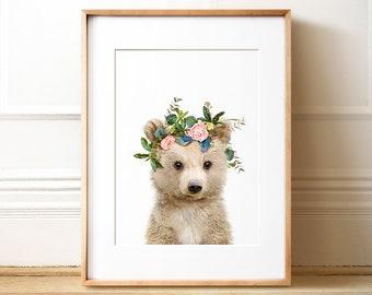 Bear PRINTABLE art, Flower crown, Forest animals, Girls room decor, Unique nursery art, Baby animal prints, Nursery animal art, Kids decor