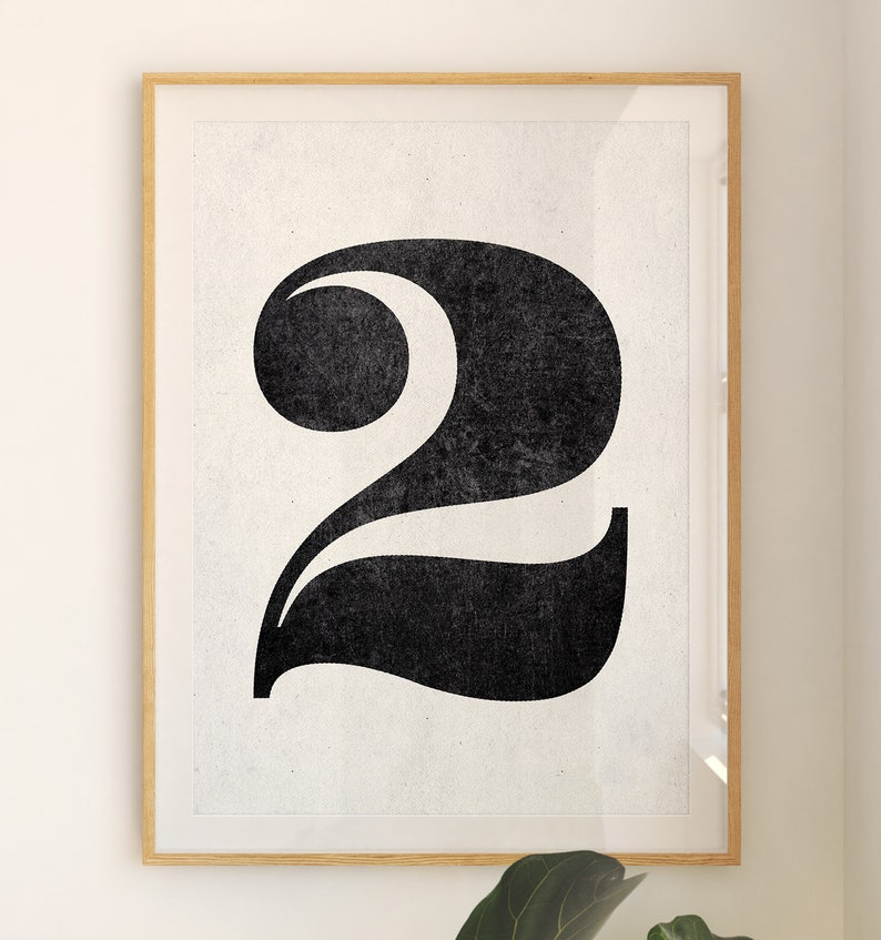 Number 2 sign Number prints PRINTABLE art Black and white image 0