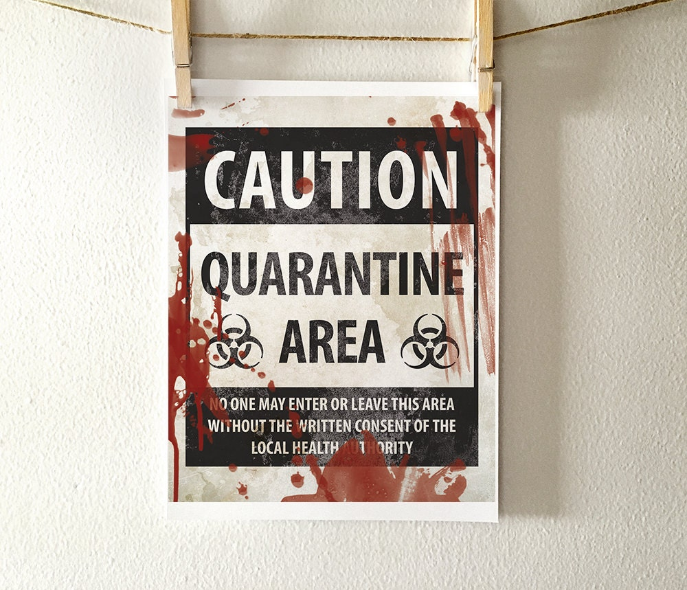 image about Quarantine Sign Printable named Halloween decor, PRINTABLE indication, Halloween printables, amusing Halloween signal, printable decorations, trick or handle, Halloween decorations