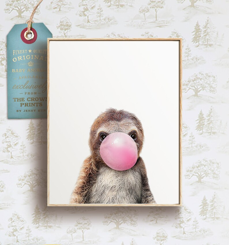 Sloth with bubblegum print PRINTABLE ART Unique nursery image 0