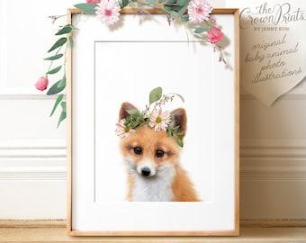 Fox PRINTABLE art, Fox with flowers, The Crown Prints, Flower crown, Woodland animal prints, Baby animals, Download, Nursery wall art, Decor