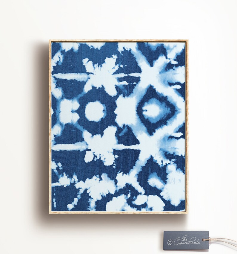 Shibori Wall Art No. 3 Indigo wall art PRINTABLE DOWNLOAD image 0