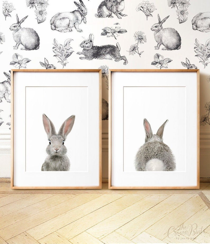 Set of 2 bunny prints PRINTABLE wall art The Crown Prints image 0
