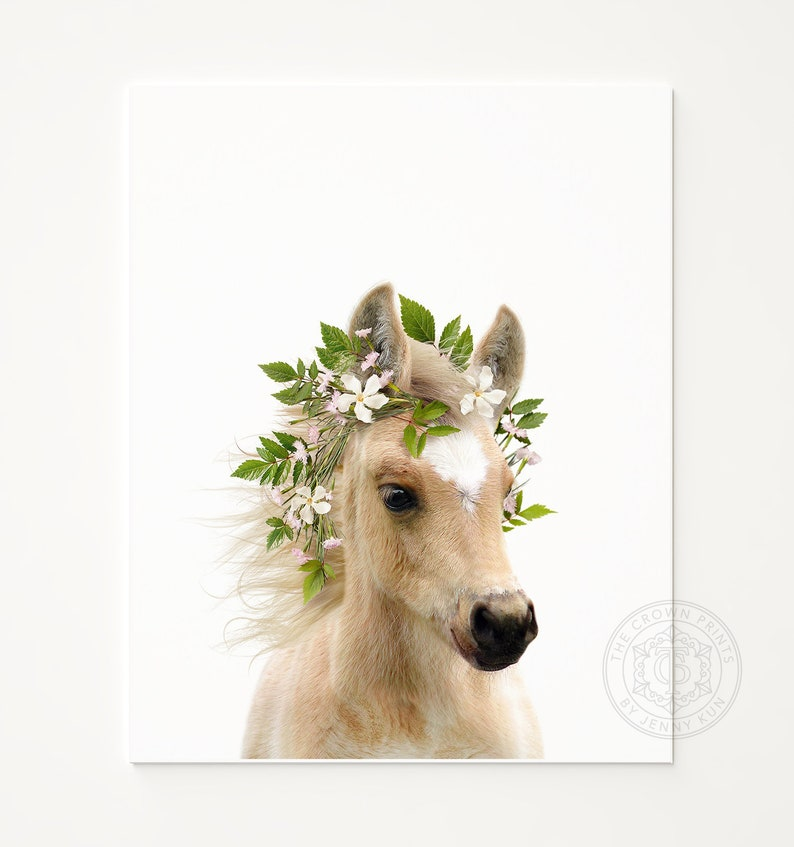 Baby horse with flower crown PRINTABLE ART Girls room decor image 0