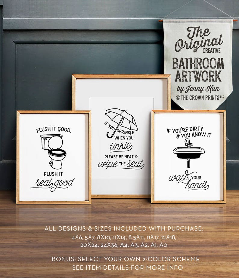 image about Printable Bathroom Art named Amusing toilet artwork, PRINTABLE artwork, Toilet wall decor, If oneself sprinkle anytime yourself tinkle, Lavatory prints, Flush bathroom indication, Children lavatory