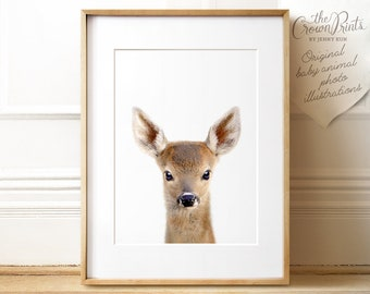 Baby deer print, PRINTABLE art, Animal prints, Nursery decor, Animal art, Baby animals, Nursery wall art, Kids room decor, The Crown Prints