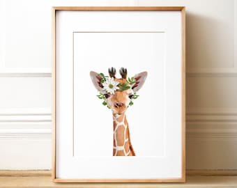 Animals with flower crowns, INSTANT DOWNLOAD, Giraffe art print, The Crown Prints, Zoo animal nursery, Safari animals, Girls room wall art
