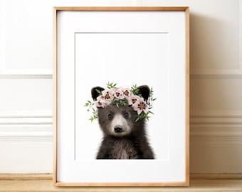 Bear print, Animals with flower crowns, PRINTABLE ART, Baby animal prints, The Crown Prints, Floral wreath animals, Girls nursery art