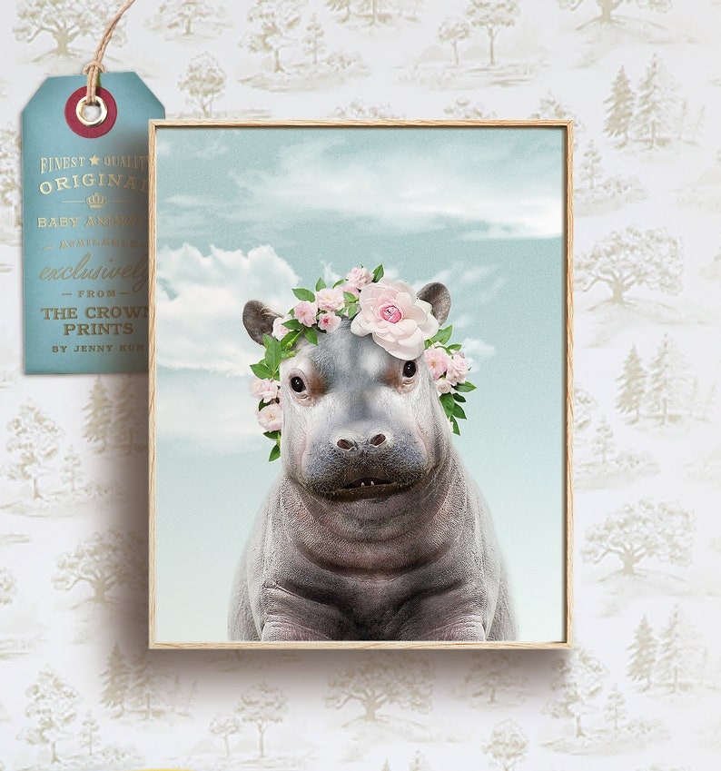 Hippo flower crown poster PRINTABLE ART Baby animal prints image 0