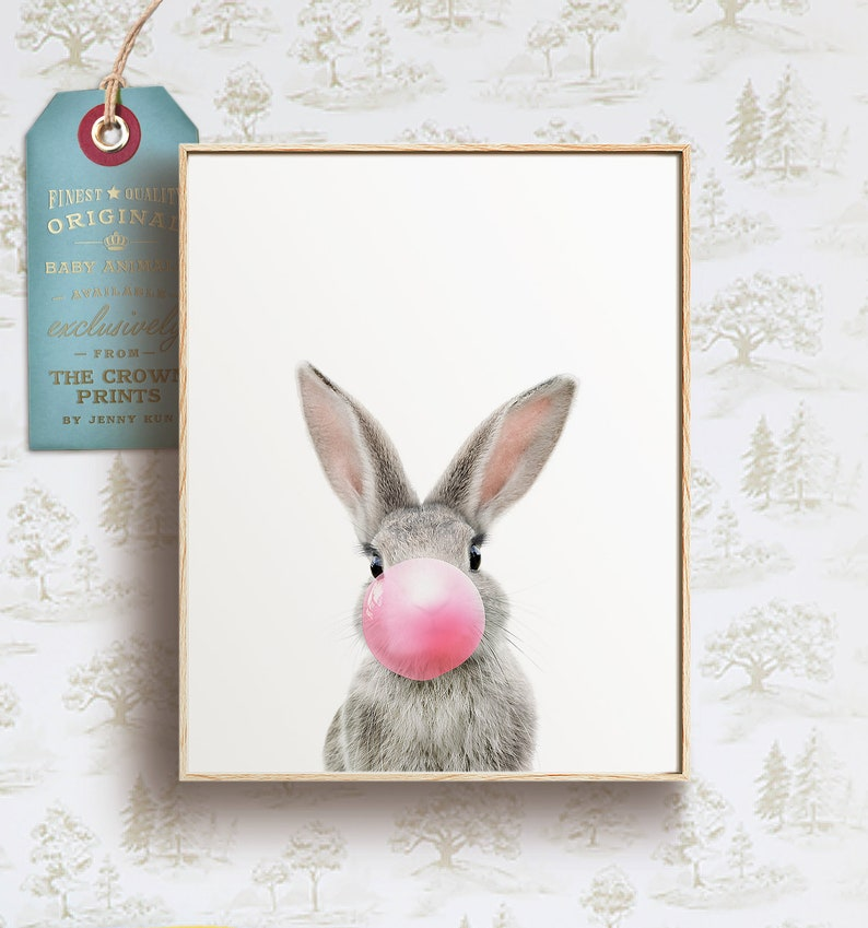 Rabbit with bubblegum INSTANT DOWNLOAD Easter decor Wall image 0