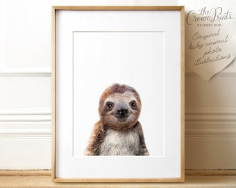 Sloth print, Nursery art, PRINTABLE art, Zoo animals, Nursery decor, Animal art, Baby animals, Nursery wall art, Kids art, The Crown Prints
