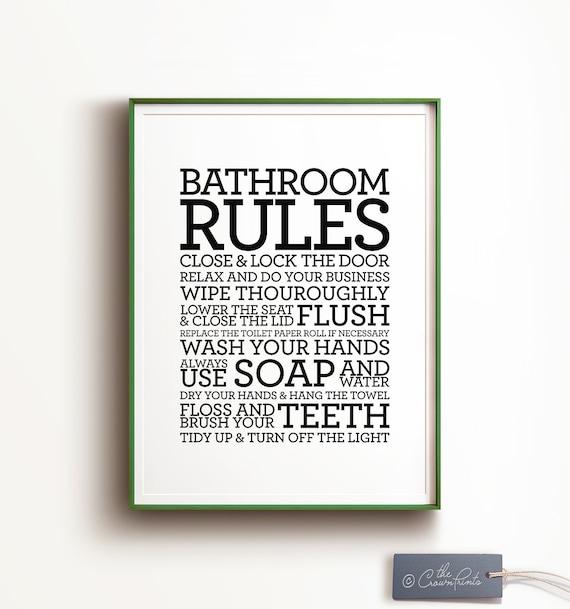 Groovy Bathroom Rules Sign Printable Art Bathroom Decor Bathroom Printable Art Flush Toilet Sign Wash Hands Sign Kids Bathroom Art Art Print Download Free Architecture Designs Sospemadebymaigaardcom