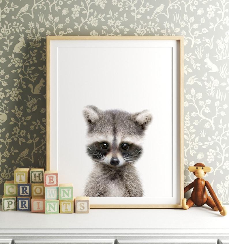 Nursery decor Raccoon print Woodland animals PRINTABLE image 0