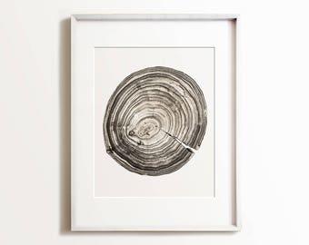 Modern art, PRINTABLE art, Tree cross section, Sepia print, Modern print, Wall art print, Minimalist print, Nature print, Neutral print