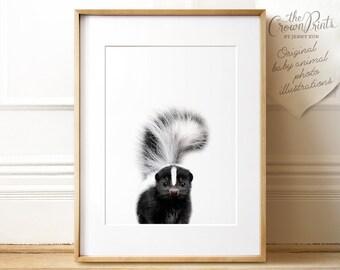 Woodland animals nursery, Baby skunk print, PRINTABLE art, Nursery decor, Animal art, Baby animal prints, Nursery wall art, Nursery art