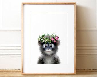 Monkey with flower crown, PRINTABLE nursery, Girls room decor, Jungle animal prints, Zoo animal nursery, Animal prints, Baby girl nursery