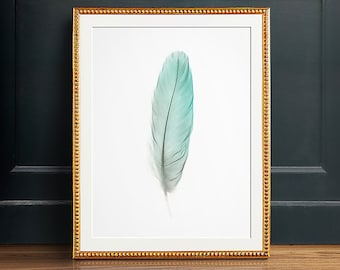 Feather artwork, INSTANT DOWNLOAD, Feather art print, Feather wall art, Turquoise art, Aqua art, Pastel art, Feather prints, Feather decor
