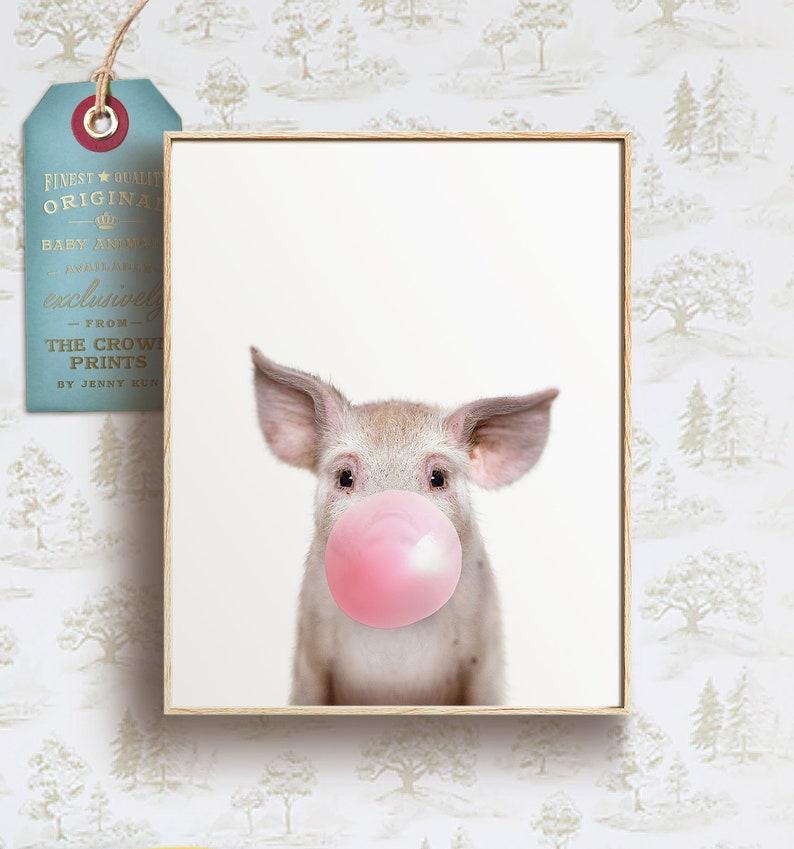 Animals with bubble gum Baby pig print PRINTABLE ART Farm image 0