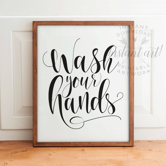 picture about Wash Hands Sign Printable called Clean palms indication PRINTABLE lavatory decor,rest room printable artwork,printable toilet,clean your palms signal,fast down load,clean fingers indicator