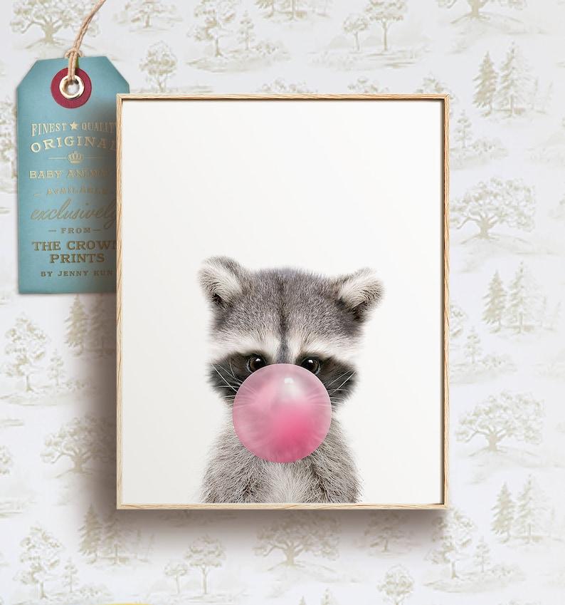 Raccoon with pink bubble print PRINTABLE ART Girls room art image 0