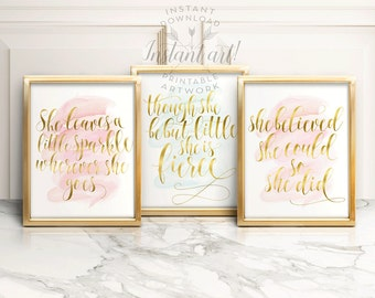 Gift for her PRINTABLE art nursery wall decor inspirational quote, she believed she could so she did, girls room wall art motivational quote