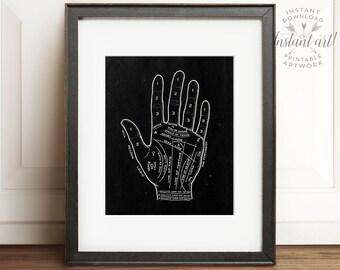 Palmistry chart, PRINTABLE art, Vintage decor, Palm reading print, Industrial decor, Ephemera, Industrial wall art, Industrial art, Black