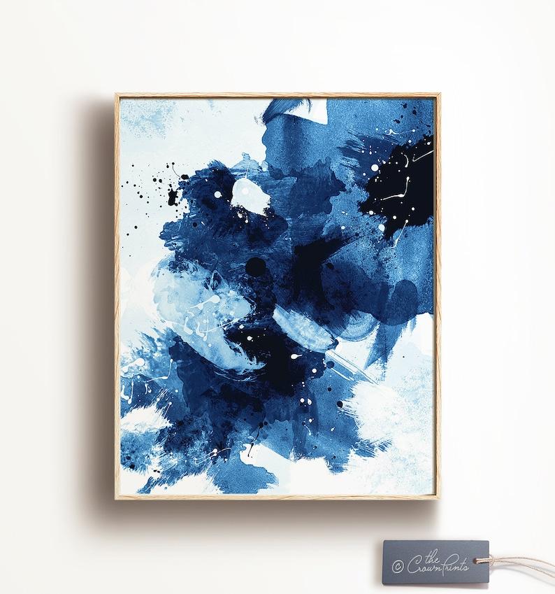 Indigo Art No. 1 Abstract PRINTABLE ART Blue brushstroke image 0
