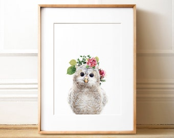 Owl PRINTABLE art, Animals with flower crowns, The Crown Prints, Nursery animal art, Flower wreath, Forest animal, Baby girl gift, Baby room