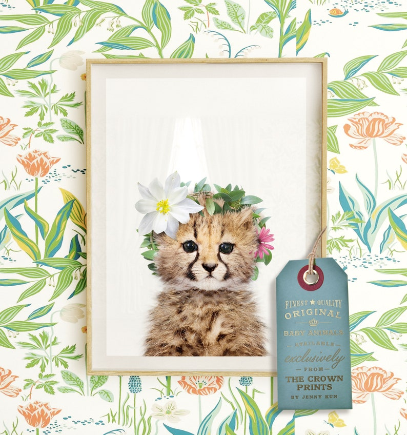 Baby cheetah with flower crown INSTANT DOWNLOAD Girls image 0