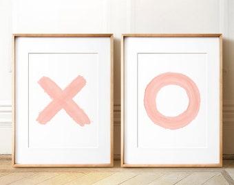 X and O prints, Pink wall art, PRINTABLE, Wall art, Modern Minimalist print, Modern art, Minimalist Art, Brushstroke Art, Contemporary Art