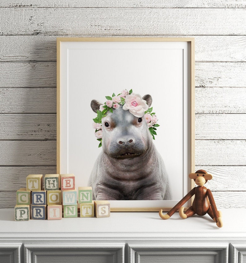 Baby hippo with flower crown DIGITAL DOWNLOAD Girls room image 0