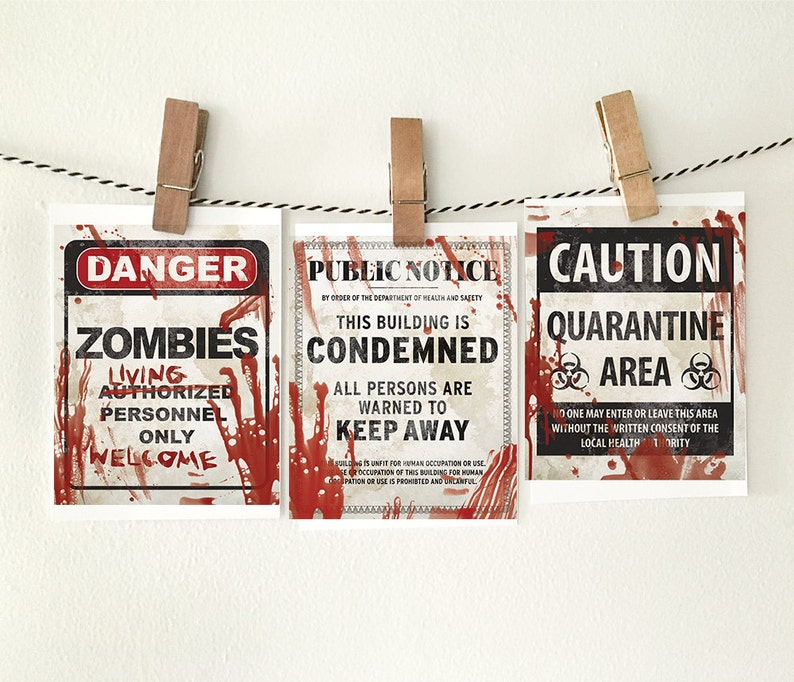 graphic regarding Quarantine Signs Printable identified as Halloween decor, PRINTABLES, Established of 3, Halloween printables, Halloween artwork, Halloween indicators, Trick or deal with, Printable Halloween decorations